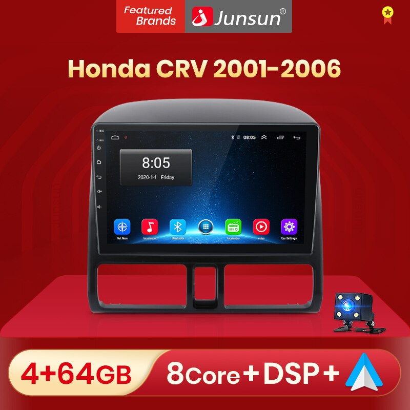 Junsun V1 pro AI Voice 2 din Android Auto Radio for Honda CR-V CRV 2 2001 - 2006 Car Radio Multimedia GPS Track Carplay 2din dvd
