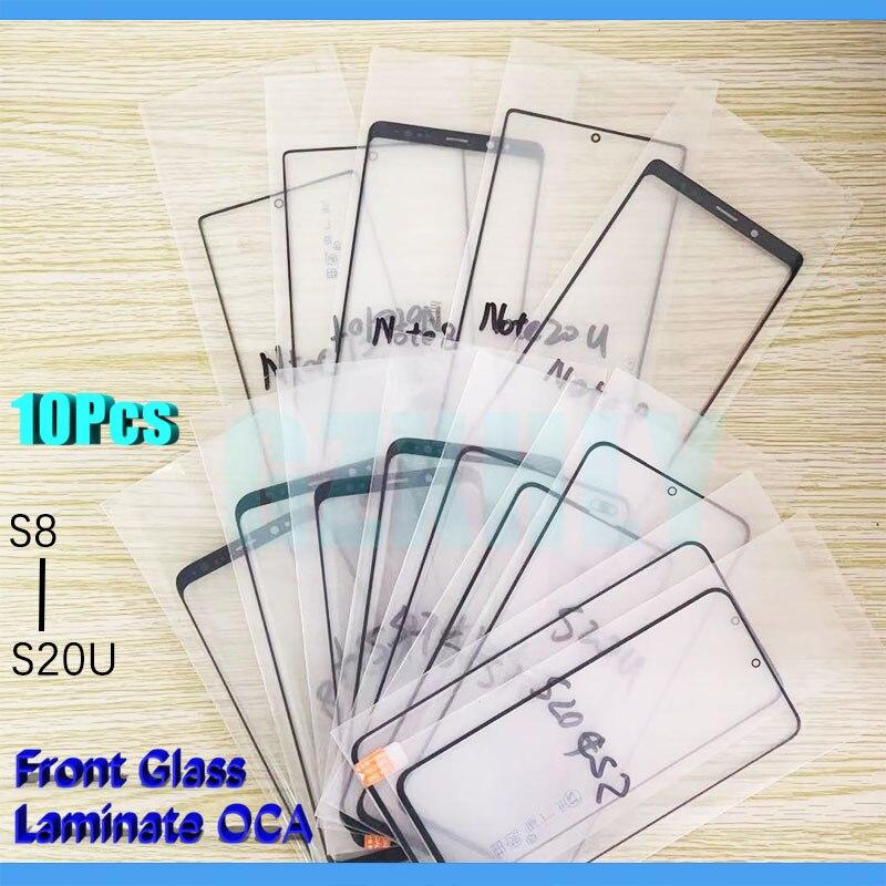 10 шт. 2 в 1 переднее внешнее стекло с пленкой OCA ламинированное для Samsung Galaxy S20 S10 S8 S9 PLUS Ultra LCD Сенсорная панель объектива