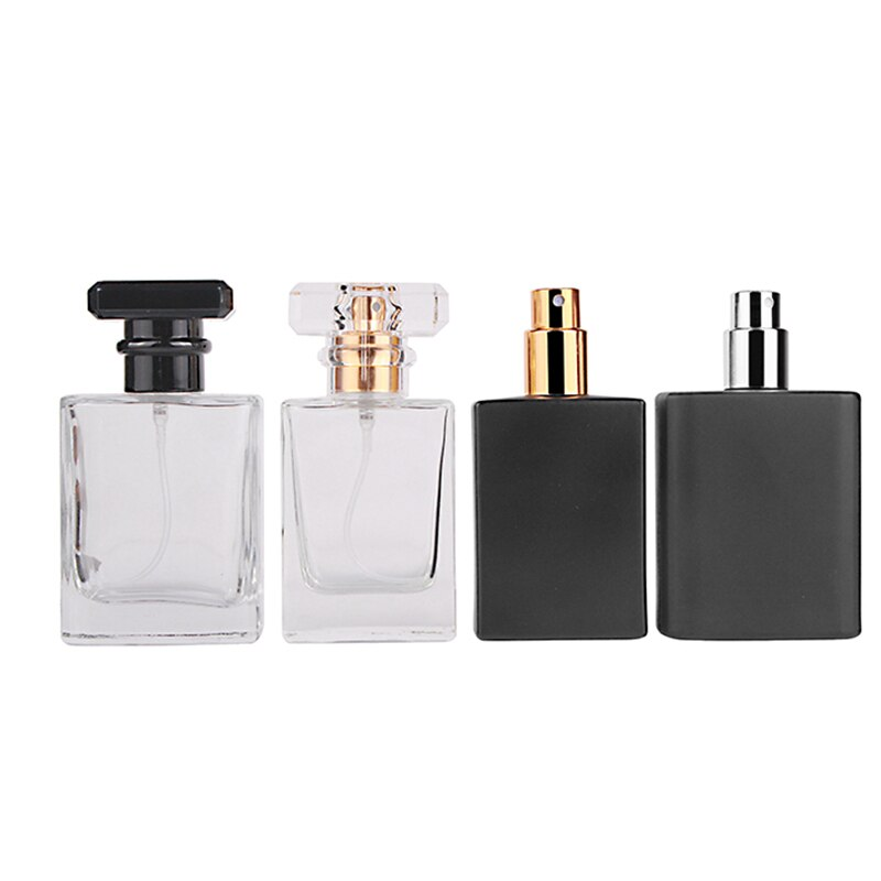 MUB-30ml 50ml Square Glass Refillable Perfume Bottle Atomizer High-grade Empty Cosmetic Container Portable Perfume Spray Bottle 30ml 50ml 100ml 150ml portable travel black aluminum empty bottle perfume spray bottle cosmetic packaging container