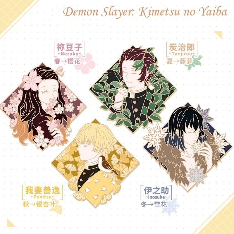 Высококачественные Значки из аниме «рассекающий демонов» Kimetsu no Yaiba, эмалированные металлические значки, булавка, реквизит для косплея, бро...