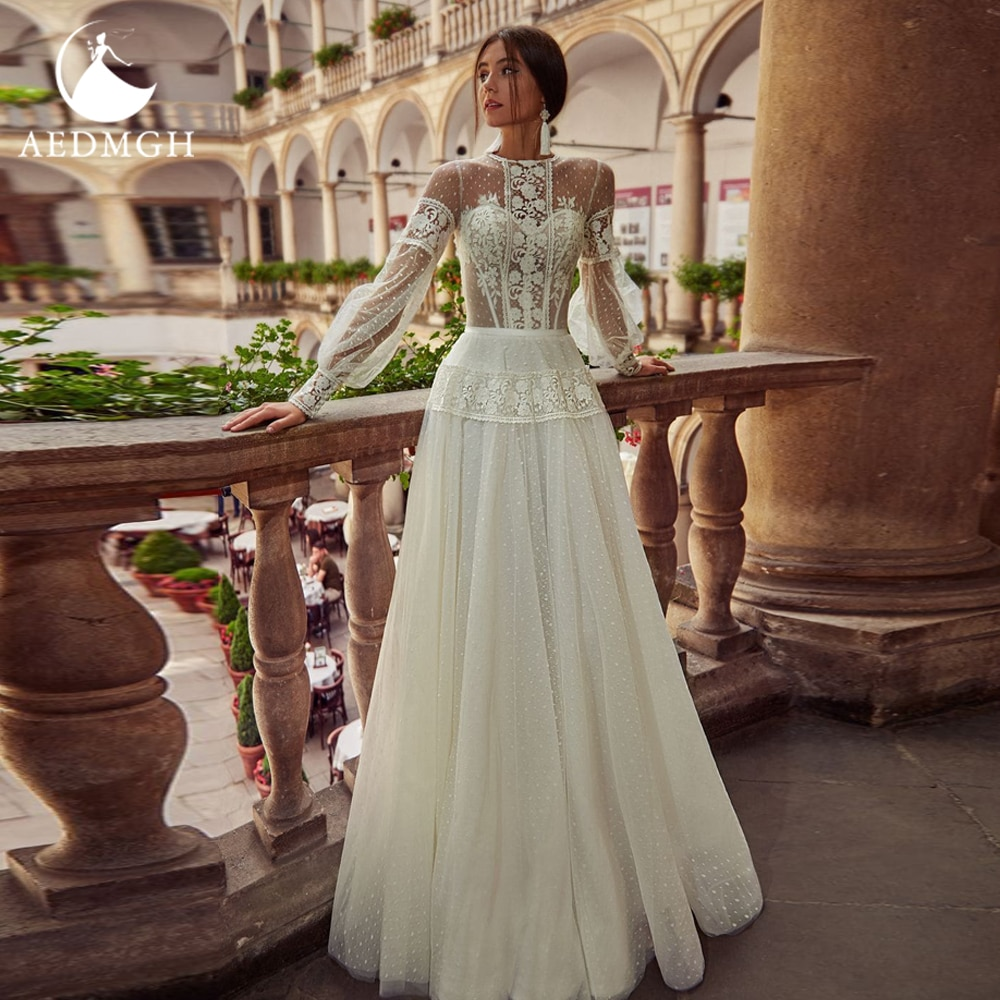Get Aedmgh A-Line Boho Wedding Dresses 2021 O-Neck Long Puff Sleeve Vestido De Novia Simple Lace Applique Sweep Train Robe De Marige