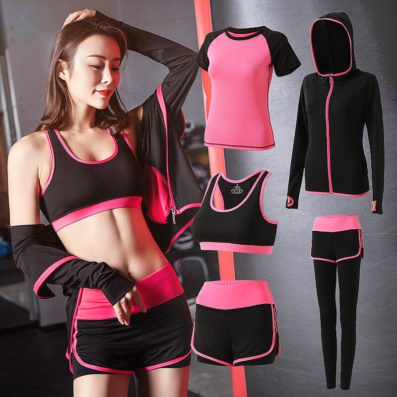 Conjunto esportivo de 5 peças, roupas para academia, fitness, leggings, sutiã, trajes de esporte femininos, roupa de treino, corrida conjunto de roupas,