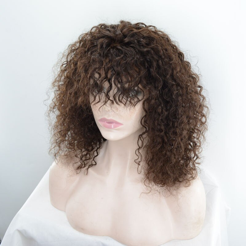Remy Human Hair Lace Front Wig Hand-Tied Brazilian Hair Short afro Kinky curly Costume wig 150% Density with Bongs