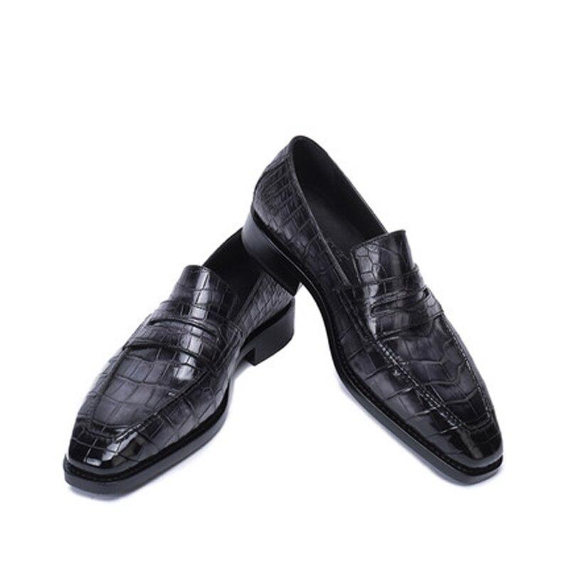 Weitasi-حذاء جلد التمساح للرجال ، أحذية عمل ، مريح ، يدوي ، طراز جديد
