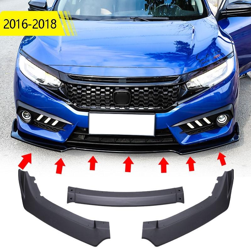 Car Styling 3pcs set Fit For Honda Civic 4dr sedan 2016-2020 Front Bumper Lip Body Kit Chin Trim