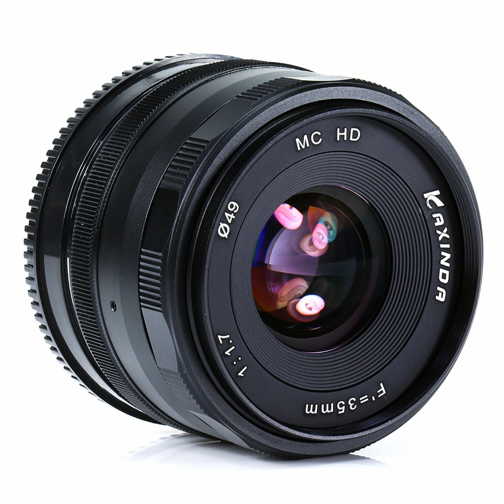kaxinda 35mm F1.7 Manual Lens for Olympus EP3 EP5 EPL7 EPM2 OMD EM5 EM1 EM10 GX7 GX1 GH3 G6 GF6  GM2 M43 Camera black+hood+gift enlarge