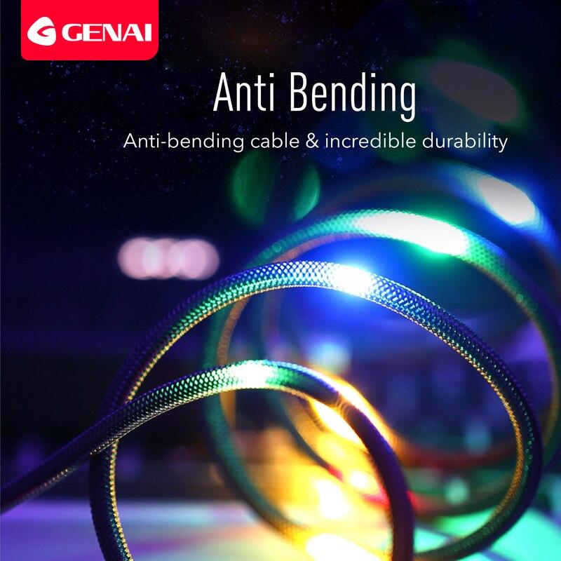 Luz de fluxo led micro cabo usb para samsung tipo c cabo de carregamento para xiaomi huawei fluxo luminoso fio de dados para iphone