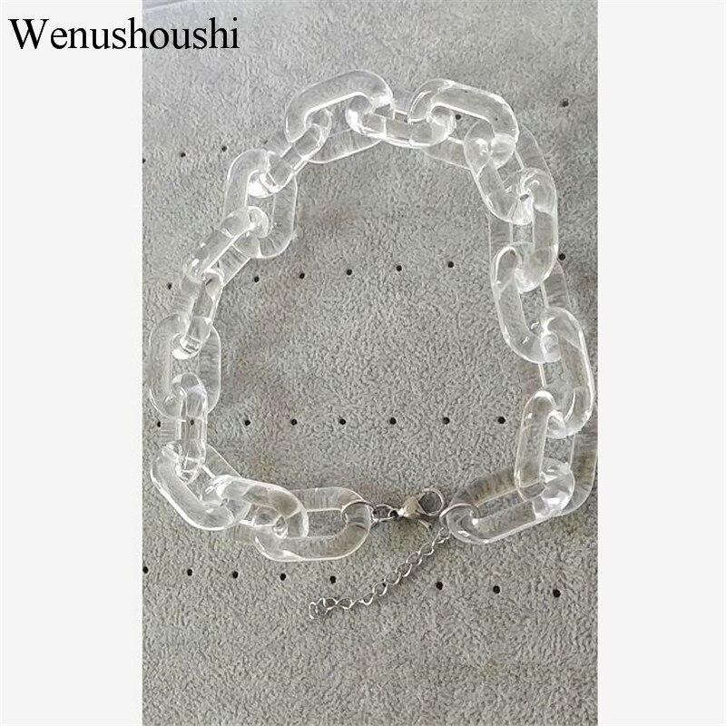 Cadena acrílica Ancho 2cm gótico grueso cadena gargantilla collar Punk rock hip hop moda plástico enlace collar mujer di078