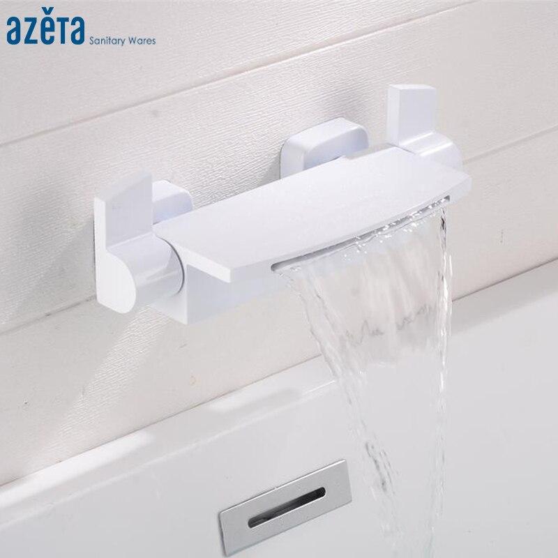 Azeta-حنفية حمام شلال من النحاس الأبيض ، حنفية حوض استحمام مثبتة على الحائط بمقبض مزدوج ، MK6422W
