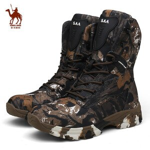 CAMEL JINGE Camouflage Military Tactical Boots Man Waterproof Hunting Boots Outdoor Rock Climbing Shoes Botas Tacticas Hombre