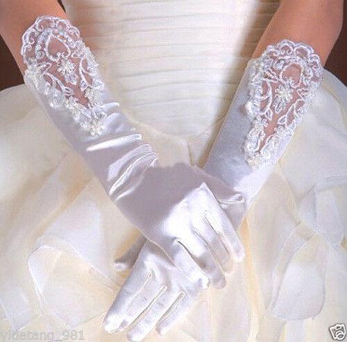 Wedding Flower Girls Communion Pageant Costume Long  Satin Gloves
