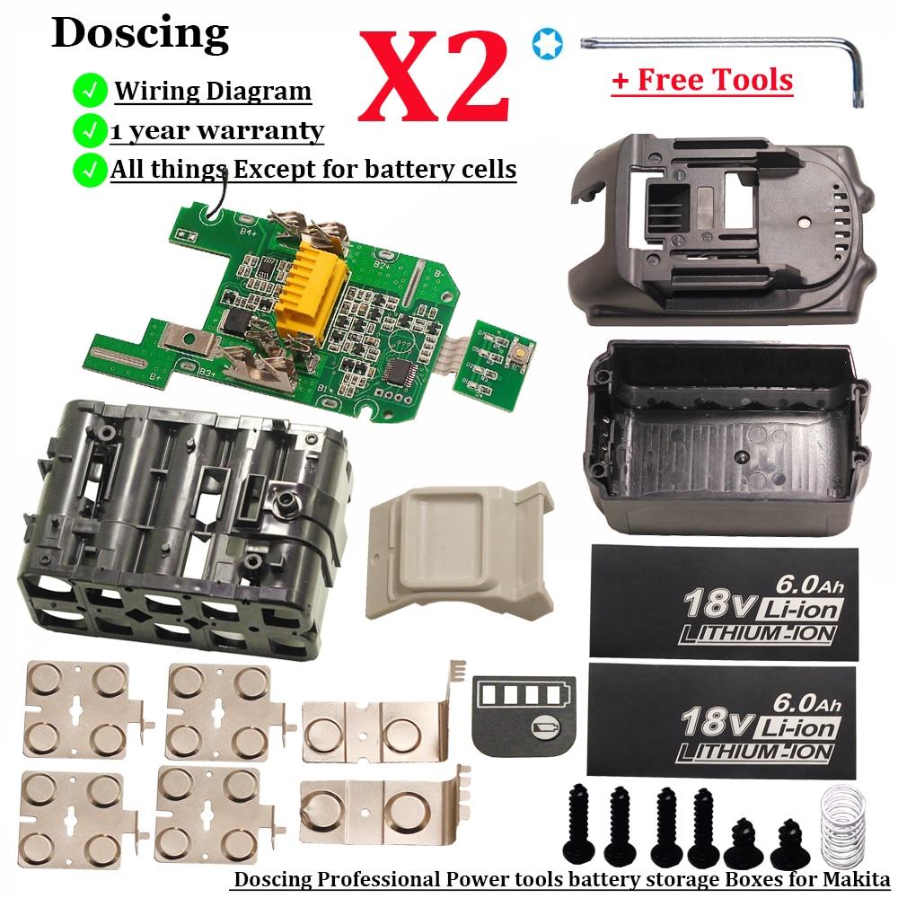 Doscing-لوحة حماية بلاستيكية لبطارية ماكيتا ، لوحة حماية خلية واحدة متداخلة ، PCB ، بطارية 18 فولت ، BL1840 ، BL1850 ، BL1830
