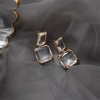 korean new fashion rhinestone jewelry square earrings luxury transparent glass crystal party earrings for women bijoux girl