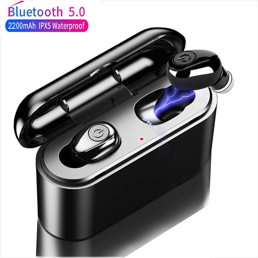TWS X8 True Wireless Bluetooth Earphones 5D Stereo Earbuds Mini Waterproof Headfrees 2200mAh Power Bank PK XG12 For Smart phone