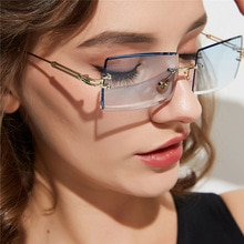 Frameless cut edge square sunglasses for women in Europe and America glasses women