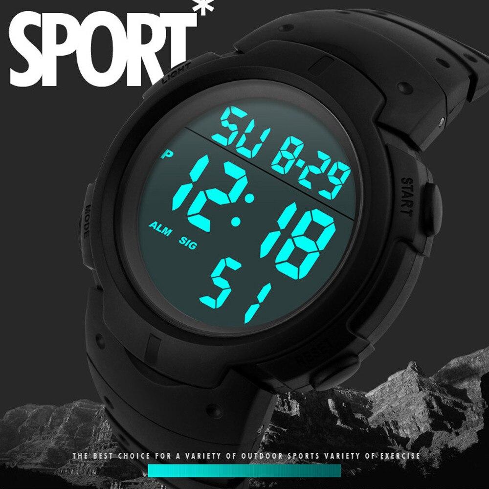 Relógio de pulso masculino da moda impermeável, relógio digital lcd com cronômetro, data, borracha, esporte, relógio de pulso, 2020