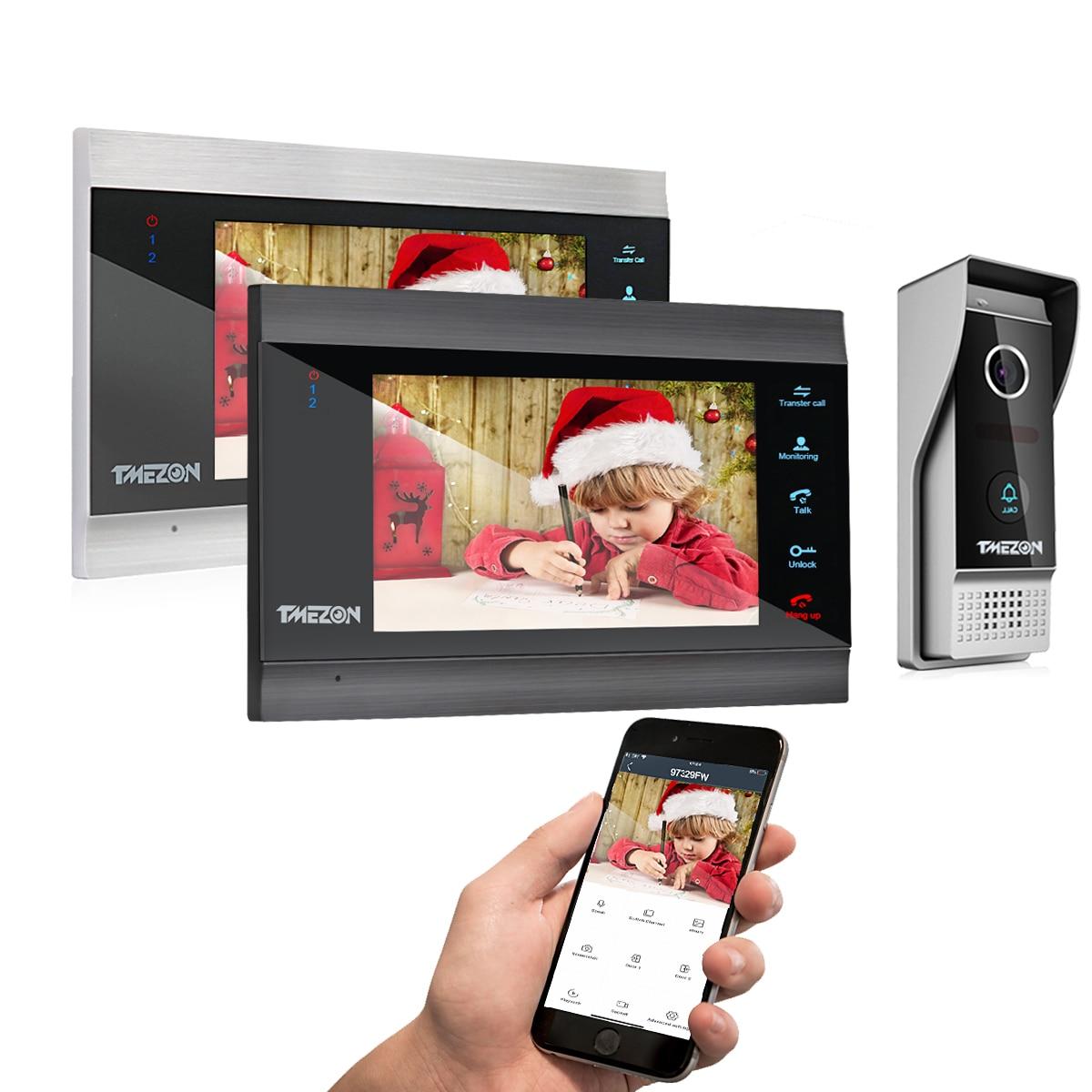 【جديد تويا 1080P 】 تميزون 7 بوصة اللاسلكية واي فاي الذكية تليفون باب بفيديو نظام اتصال داخلي مع 2 مراقب 1 كاميرا جرس الباب غير نافذ للمطر