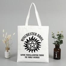 Fashion TShirt Supernatural Winchester Bros Saving People Things Tote Bag Unisex Canvas Bags Shopping Bags Shoulder Bag Foldable