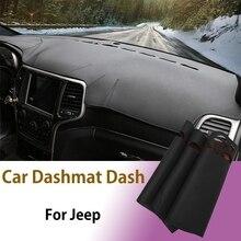 Voiture tableau de bord couverture tapis voiture Dashmat Dash voiture antidérapant soleil ombre tapis tapis pour Jeep Grand Cherokee 2011-2017 voiture style