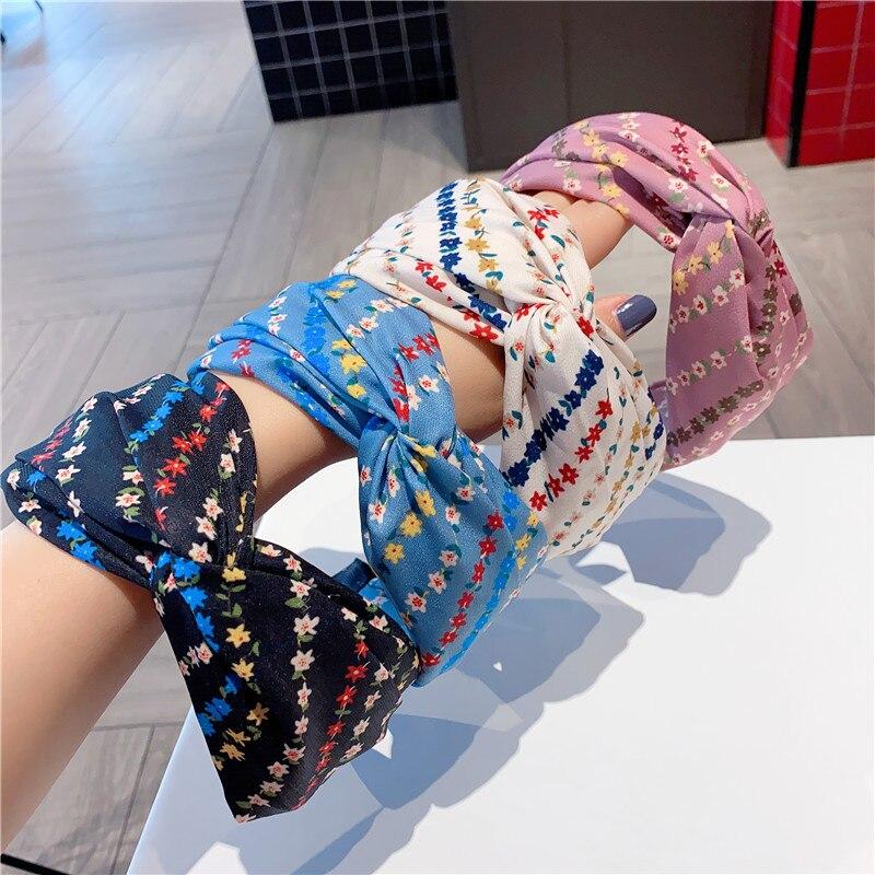 Corea dulce flor de la tela de la banda del pelo de las mujeres de ala ancha empalmado nudo diadema niñas accesorios del pelo de la moda todo partido