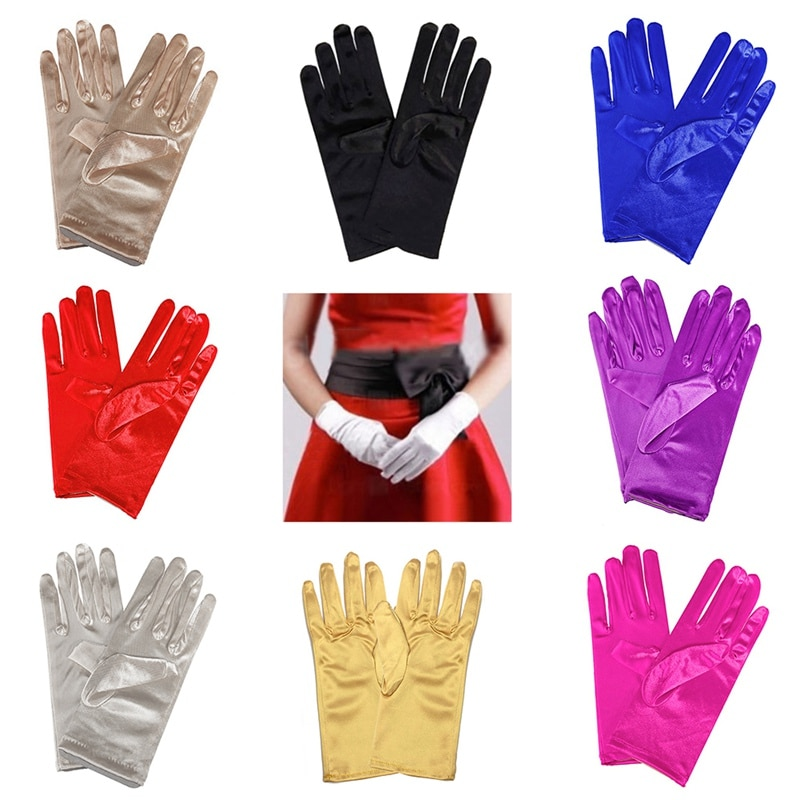 1PC Girl Lady Satin Short Finger Wrist Gloves Smooth Evening Party Formal Prom Costume Stretch Gloves Red White Etiquette Glove