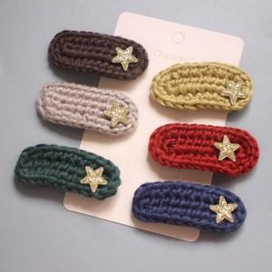 2021 1set Handmade Colorful Wool Hair Clips For Girls Teddy Hair Clamp Pins Kids Cute Star Hairpin Baby Kawaii Hair Accessories