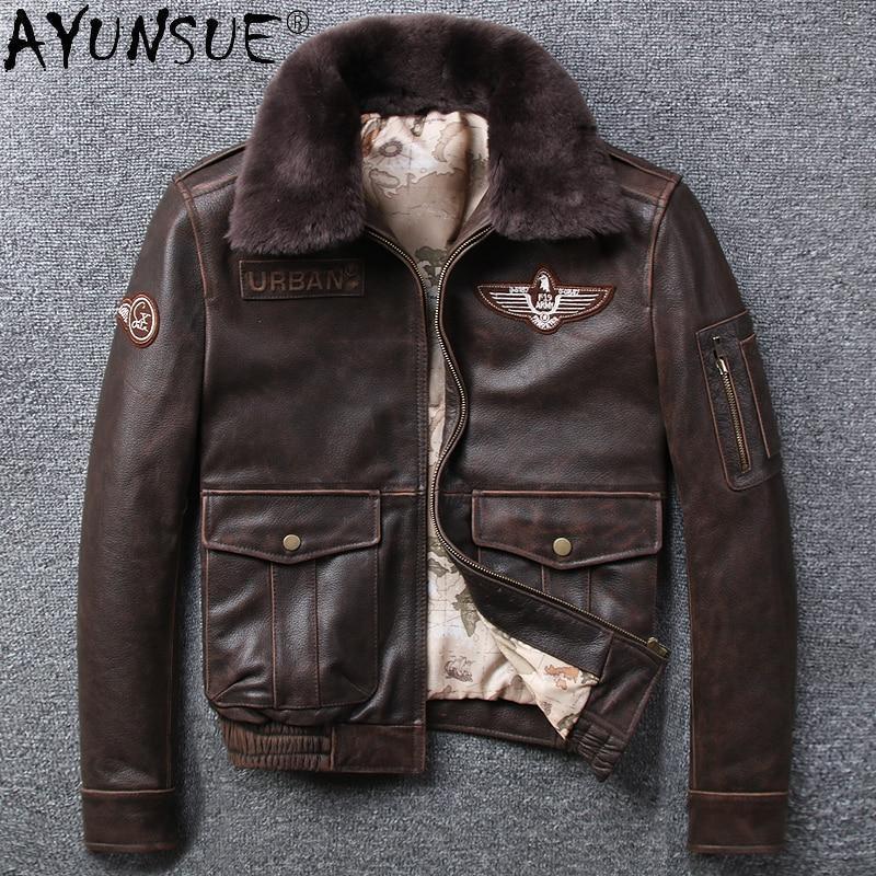 Ayunsu حقيقي جلد البقر سترة جلدية الرجال معطف الرجعية دراجة نارية ملابس للرجال ملابس الشتاء الرجال السترات أوم Veste LXR679