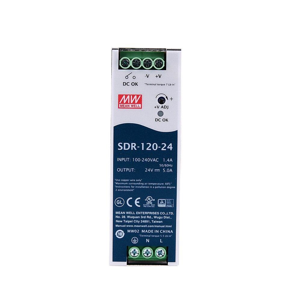 الأصلي يعني جيدا SDR-120-24 meanwell DC 24V 5A 120W إخراج واحدة الصناعية DIN السكك الحديدية مع PFC وظيفة امدادات الطاقة