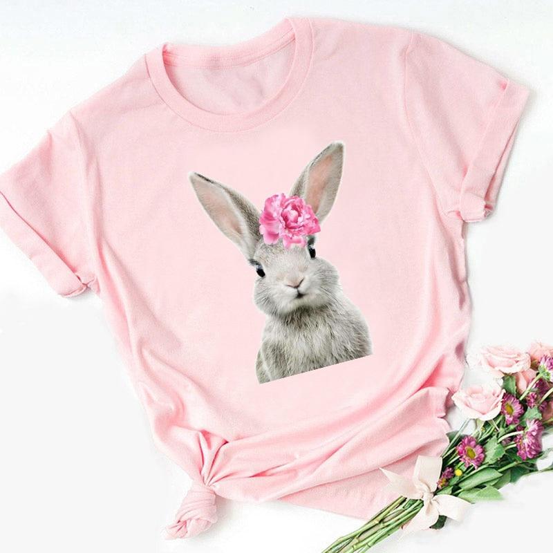 ZOGANKIN femmes rose hauts été Kawaii fleur lapin/renard/Teddy/pingouin/alpaga/cheval/ours/hibou/flamant rose/cochon Animal imprimé T-shirt