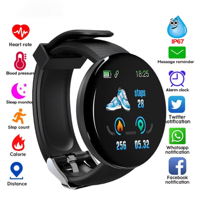 Reloj inteligente D18 para Fitness, reloj inteligente deportivo para hombre y mujer, cronómetro Recordatorio de información de presión arterial para IOS y Android