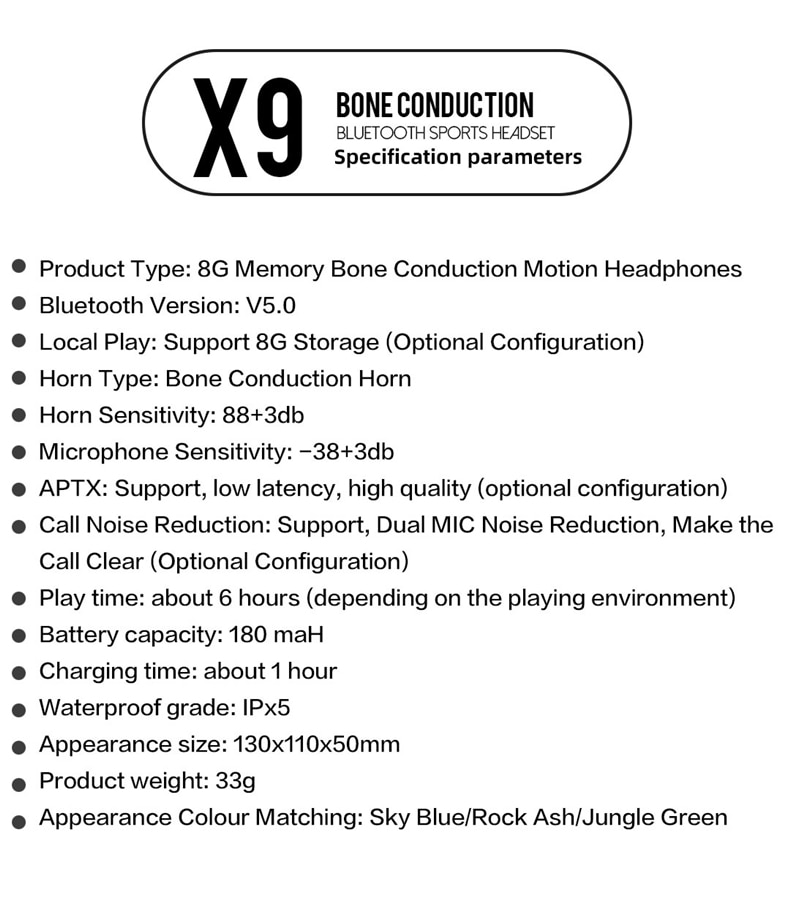 2021 New Model Bone Conduction Wireless With Bluetooth 5.0 Earphone 8G Memory Waterproof Headset and Microphone enlarge