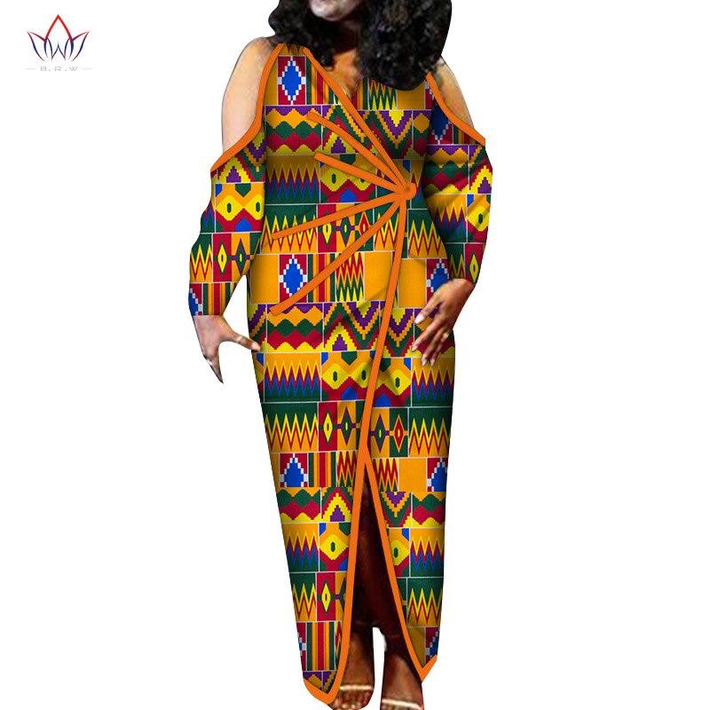 Nueva moda tradicional diseño de impresión Africana Bazin manga larga Dashiki vestido para dama de talla grande ropa elegante WY6267