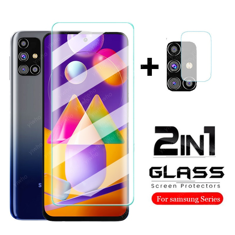 2 in 1 tempered glass for samsung galaxy m31s m31 prime m 31 s 31s 2020 m315f 6.4'' sm-m317f/ds 6.5'' protective glass film