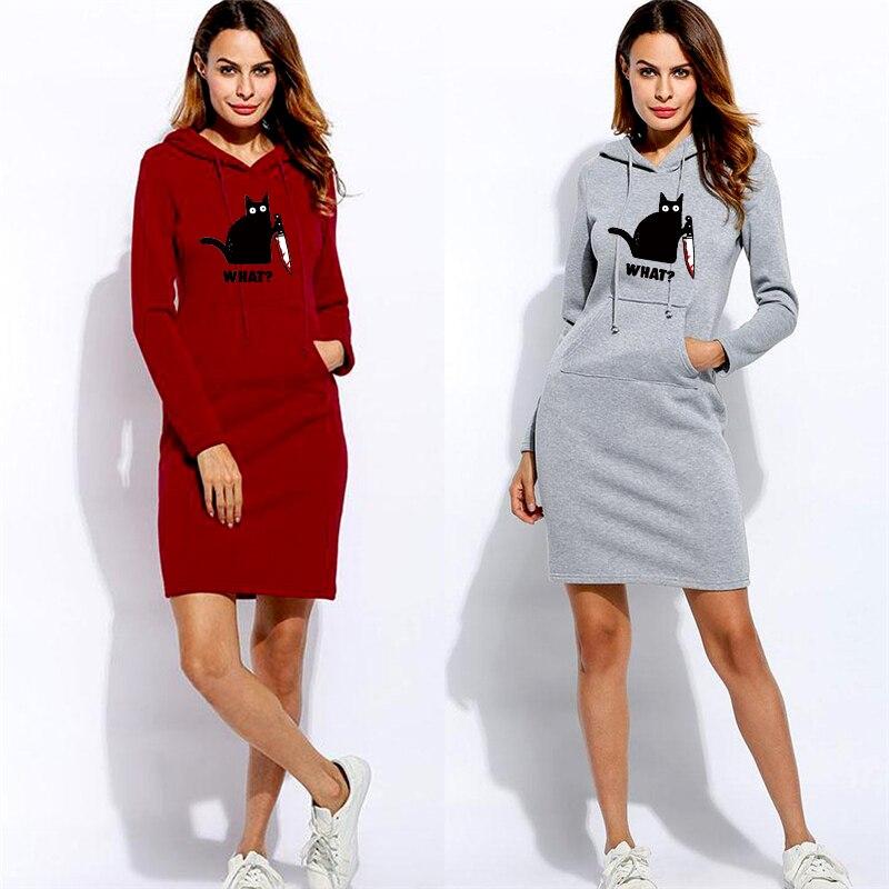 Женские толстовки с капюшоном и забавным принтом, свитшоты, платье с длинным рукавом, зимняя женская одежда, платья-пуловеры с капюшоном и к...