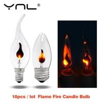 10pcs Flicker Led Candle Light Flame Edison Bulb E14 E27 Fire Lighting Vintage 3W 220V Tail Retro Decor Energy Saving Lamp