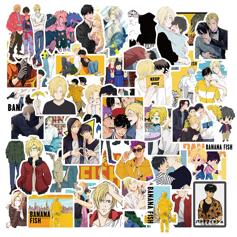 50pcs Anime BANANA FISH Stickers For Stationery Laptop Skateboard PVC Backpack Water Bottle Bicycle
