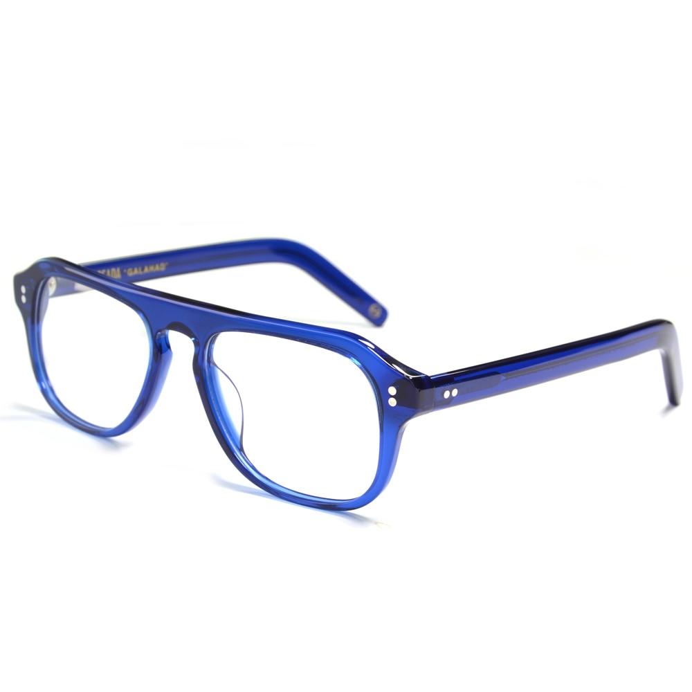 Kingsman-نظارات ريترو أسيتات للرجال ، عدسات زرقاء شفافة ، إطار عتيق