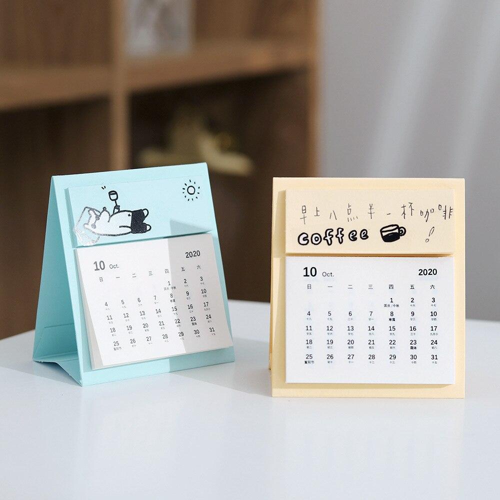 2020/2021 simples doce calendário de tempo calendário de mesa agenda diária planejador de mesa mini calendário anual organizador escritório