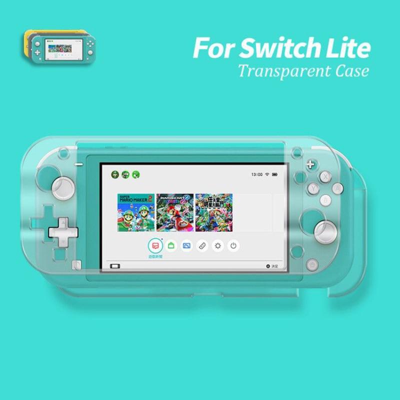 Funda 2019 para Nintendo Switch Lite Crystal Case para Nintend Switch Lite Hard PC cubierta transparente Pantalla de vidrio templado película