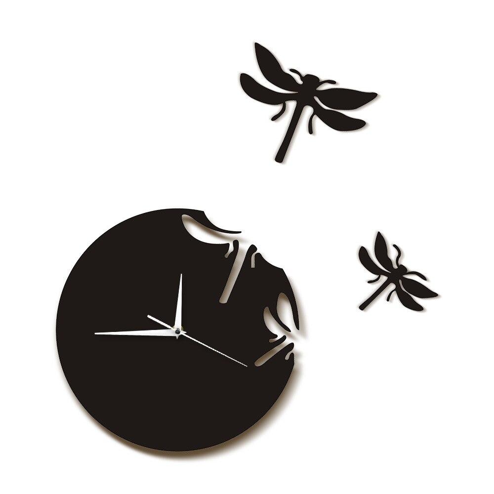 Populaire créatif salon décoration bricolage acrylique horloge suspendue Style européen Simple libellule Stickers muraux horloge
