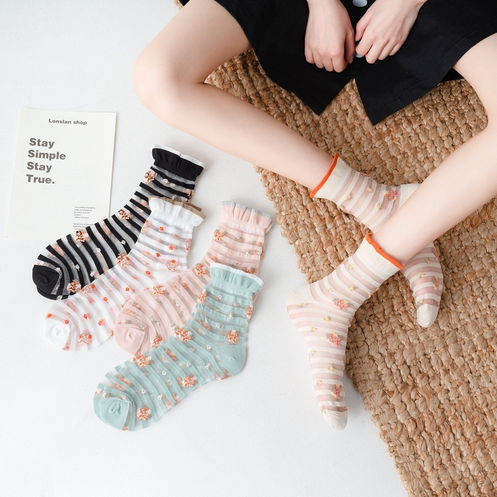 Girls Cute Socks Set 5 Pairs Lace Silk Cartoon Long Socks Thin Striped Printed Flower Summer Socks Fashion Casual Women Socks