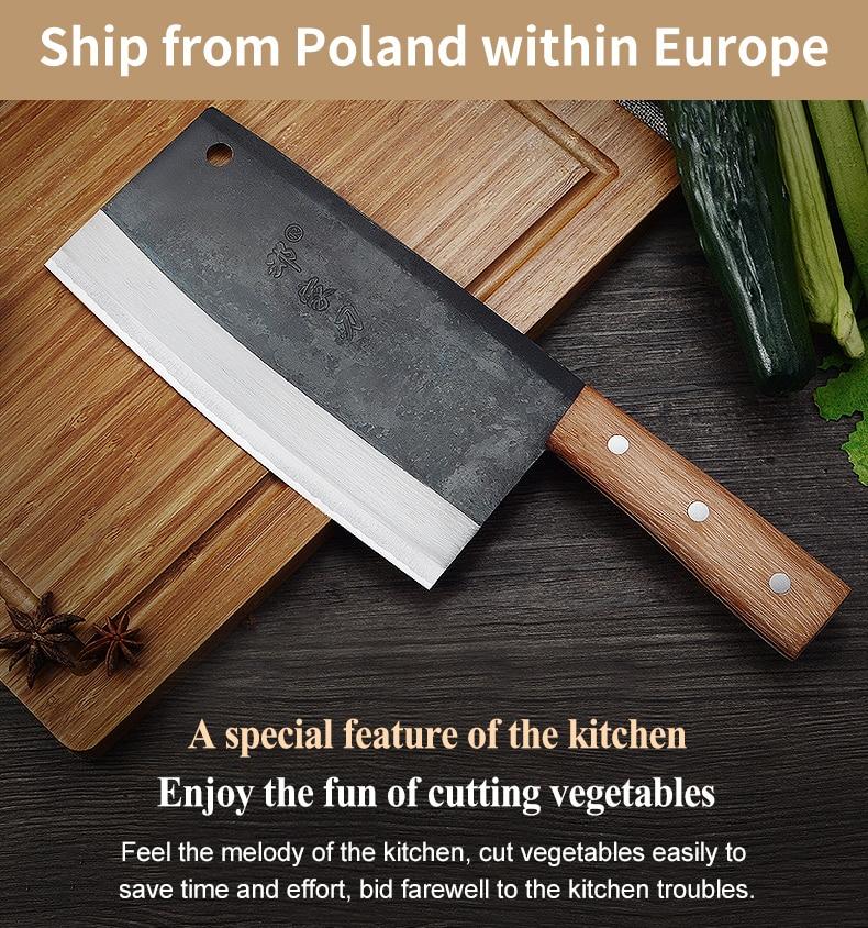 Dengjia سكين عالية الجودة اليدوية مزورة شفرة الصينية الشيف سكين الخضار الساطور الكربون الصلب سكين المطبخ للطبخ