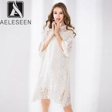 AELESEEN haute qualité soie dentelle robe femmes 2020 piste mode Flare manches robe blanche fleur broderie Style ample robe XXL