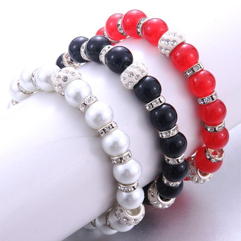 Nueva moda pulsera de cuentas de color sólido de piedra Natural, abalorio Vintage, pulsera redonda de mármol de cristal, joyería al por mayor