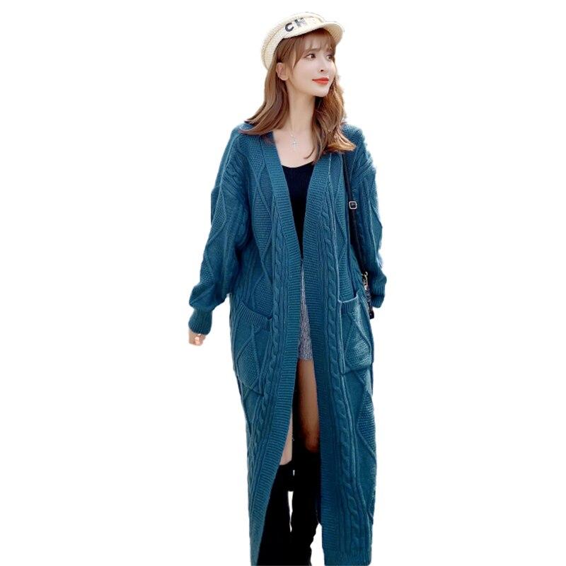 Vintage Street Thick Black V-neck Long-sleeve Maxi Cardigan Sweater 2021 Women Fashion Long Cotton Cardigan Sweater Jacket Top enlarge