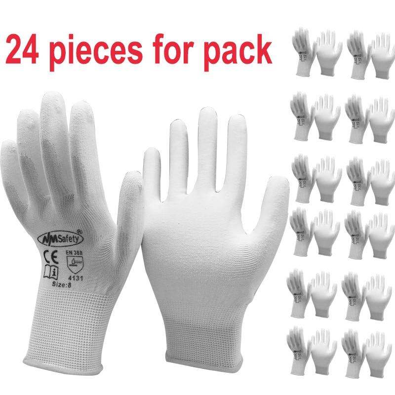 24/12 paires de gants de sécurité de travail, 24/12 paires, gants de protection industriels, en Nylon et coton, Nylon Pu noirs, pour les fournisseurs de marque, NMSafety