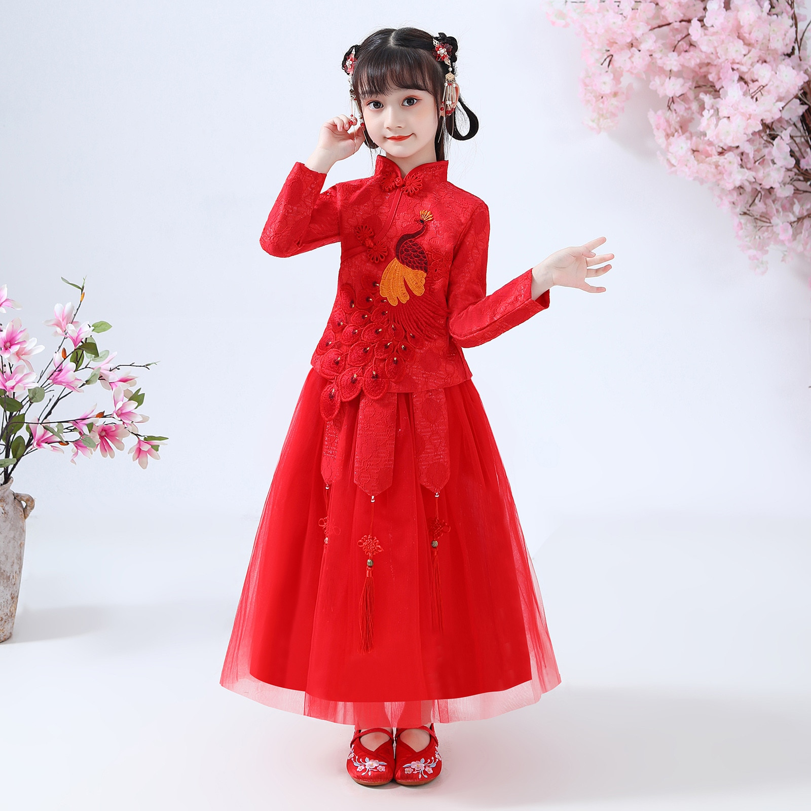 Baby Girl New Year Festival Red Dress Toddler Baby Kids Girls Lunar Chinese New Year Tang Suit Princess Dresses Set