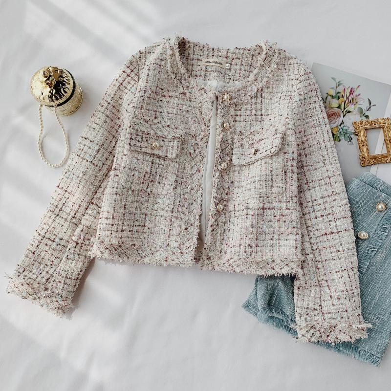 2019 novo outono inverno xadrez tweed franjas jaqueta curta feminino coreano single-breasted pequena fragrância doce jaqueta cc1150