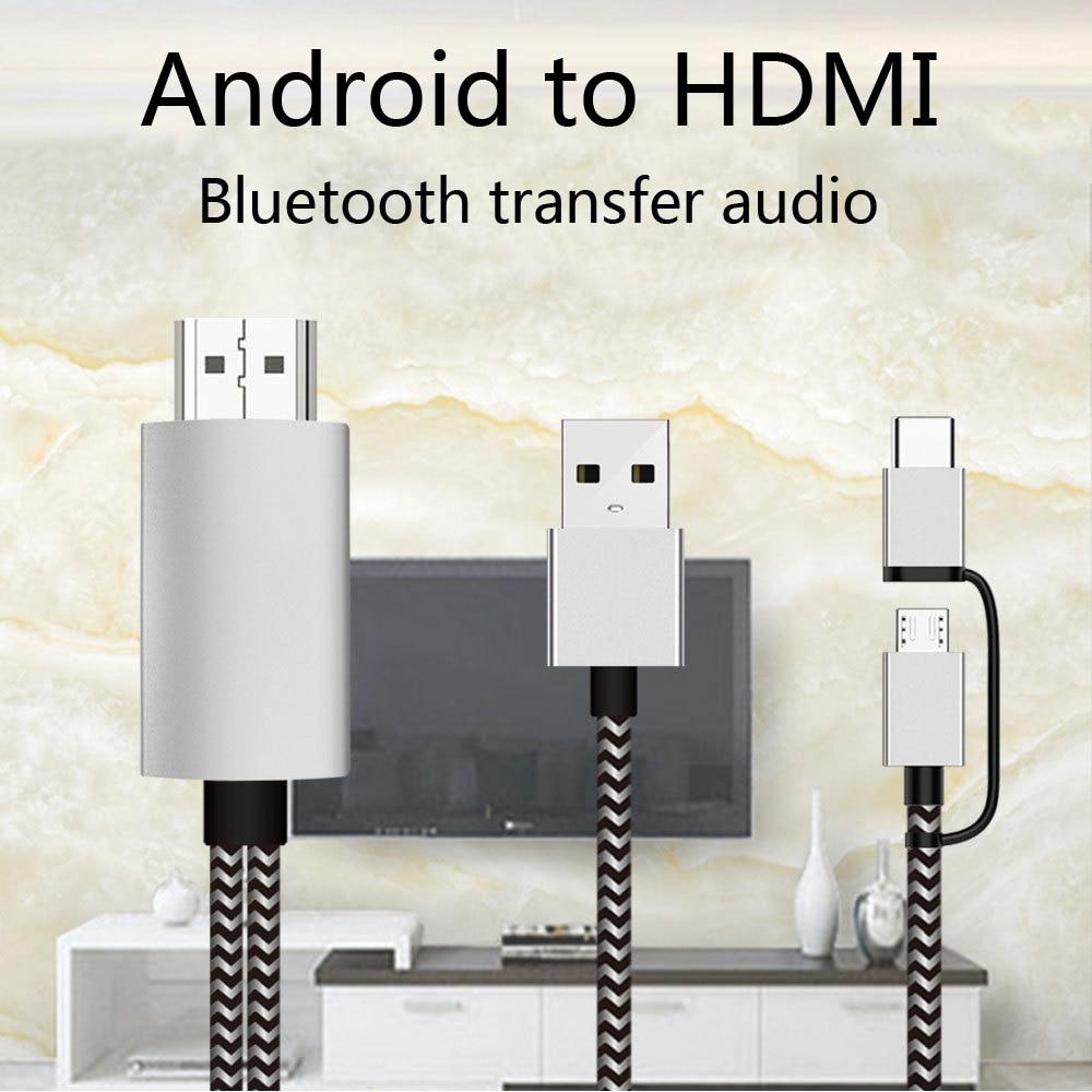 2K Bluetooth de Audio tipo C Micro USB HDMI Cable adaptador HDTV para Huawei Mate 20 P9 Samsung S10 S9 S8 Nota 8 9 teléfono Android TV