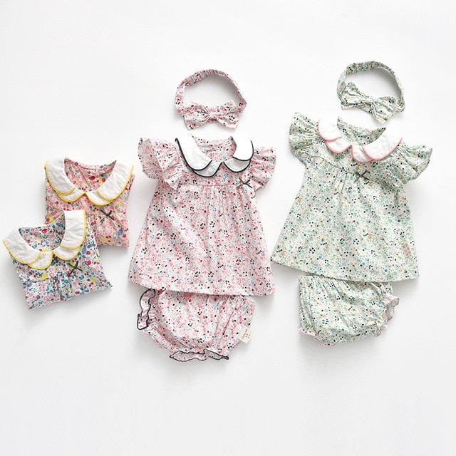 Yg Brand Children's Wear, Summer Baby Cotton Children's Suit, Floral Lapel Baby Clothes, Lovely Princess Skirt 2